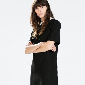 ZARA Black Shift Dress with Poplin Collar